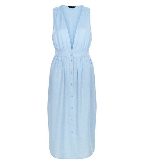 Pale Blue Button Front Deep V Neck Midi Dress | New Look