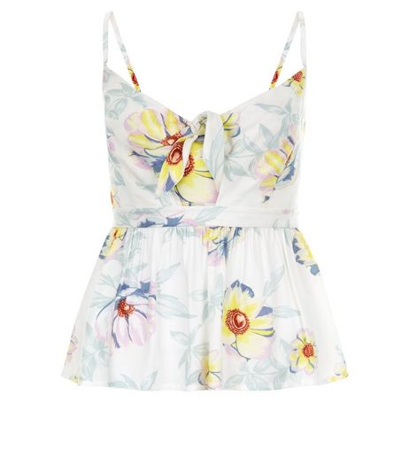 White Floral Print Tie Front Peplum Cami | New Look