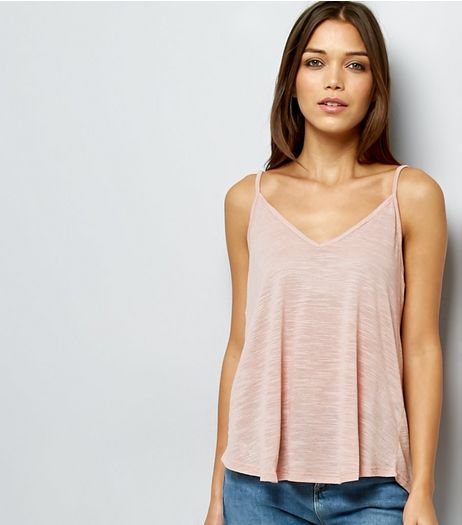 Pink Tie Strap V Neck Cami Top  | New Look