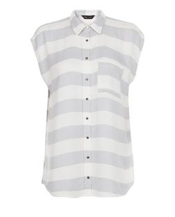 White Stripe Single Pocket Cap Sleeve Shirt  | New Look