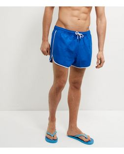 Blue Contrast Trim Runner Swim Shorts  | New Look