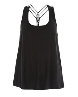 Black Strappy Swing Vest  | New Look