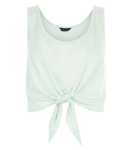 Light Green Tie Front Vest  | New Look
