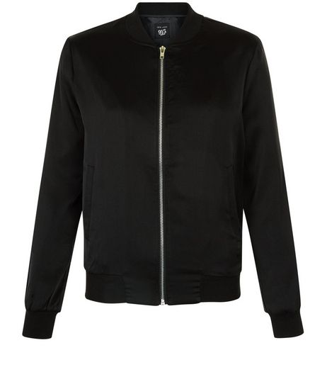 Teens Black Sateen Bomber Jacket | New Look