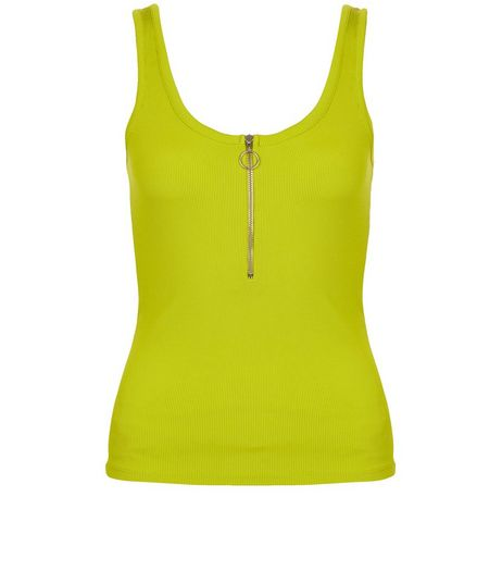 Lime Ribbed Zip Front Vest | New Look