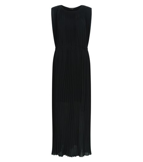 Black Pleated Sleeveless Maxi Dress  | New Look