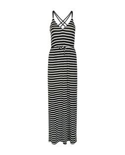 Black Stripe Strappy Maxi Dress  | New Look