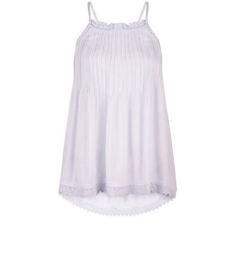 Light Purple Pleated Crochet Trim Cami  | New Look