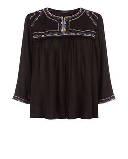 Black Embroidered Trim Kimono | New Look