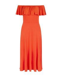 Bright Orange Frill Bardot Neck Midi Dress  | New Look