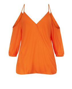Bright Orange Wrap Front Cold Shoulder Top  | New Look