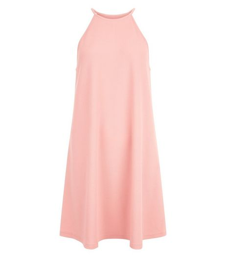 Mid Pink High Neck Swing Dress  | New Look