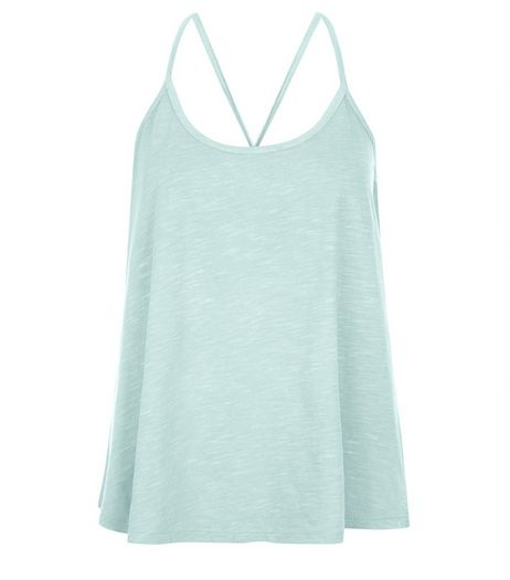 Mint Green Crochet Back Cami | New Look