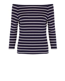 Navy Ribbed Stripe Bardot Neck Long Sleeve Top  | New Look