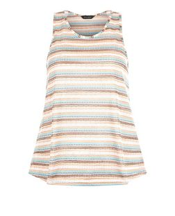 Stone Zig Zag Stripe High Neck Swing Vest  | New Look