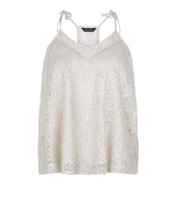 Mink Lace Pleated Cami  | New Look