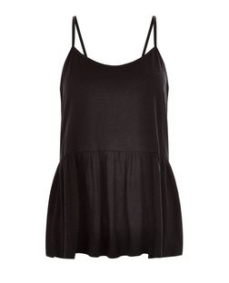 Black Peplum Cami  | New Look