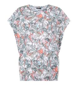 White Tropical Bird Print T-Shirt | New Look