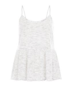 White Stripe Peplum Cami  | New Look