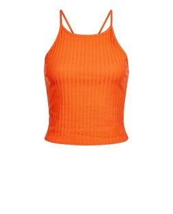 Bright Orange Ribbed Crop Top | New Look