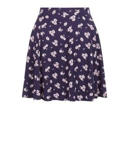 Blue Ditsy Floral Print Skater Skirt  | New Look
