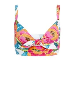 White Floral Print Tie Front Bralet  | New Look