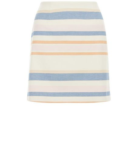 White Stripe A-Line Skirt  | New Look