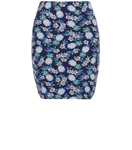 Blue Pineapple Print Tube Skirt  | New Look