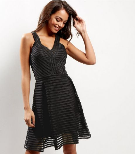 Black Mesh Ladder V Neck Sleeveless Dress | New Look