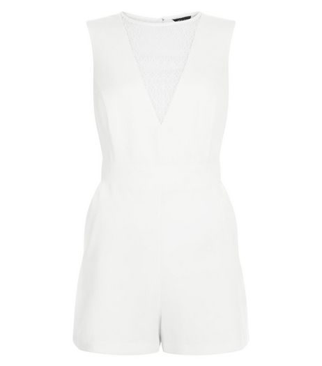 White Lace Panel Sleeveless Playsuit | New Look