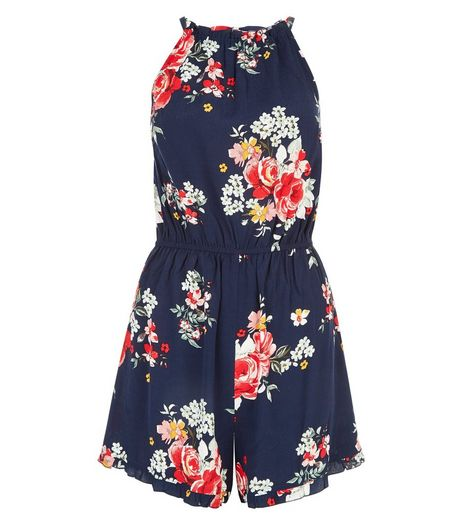 Tall Blue Floral Print High Neck Playsuit | New Look