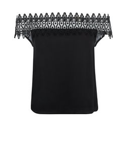 Black Lace Trim Bardot Neck Top | New Look