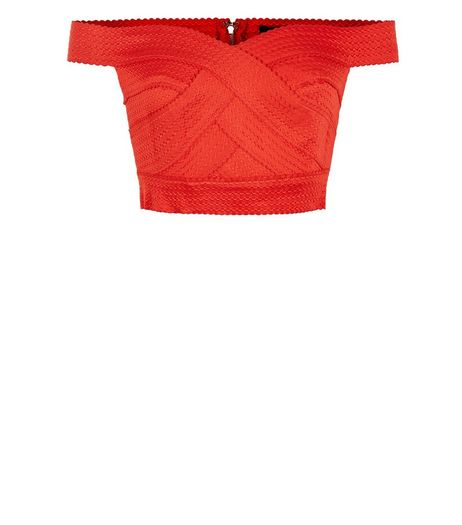 Petite Bright Orange Bardot Neck Bandage Crop Top  | New Look