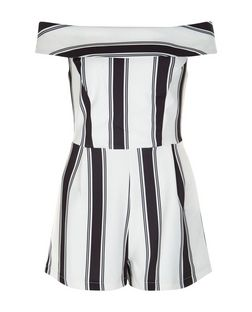 Black Stripe Bardot Neck Playsuit  | New Look