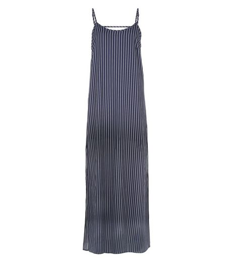 Blue Stripe Bar Back Maxi Slip Dress  | New Look