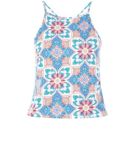 White Floral Tile Print High Neck Top  | New Look