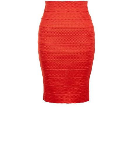 Petite Bright Orange Bandage Pencil Skirt  | New Look