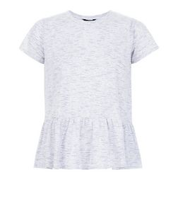 White Stripe Peplum T-Shirt  | New Look