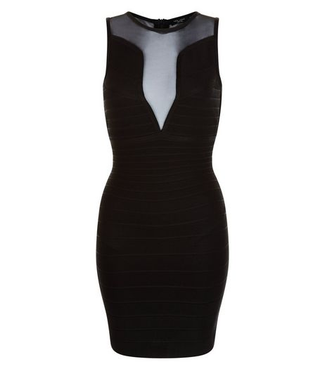 Petite Black Mesh Bandage Panel Bodycon Dress | New Look
