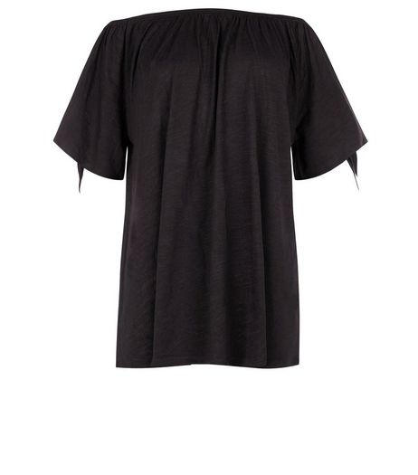 Black Tie Sleeve Bardot Neck Top  | New Look