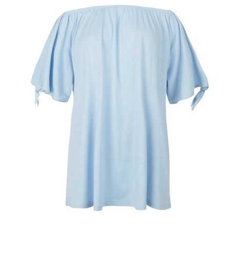 Pale Blue Tie Sleeve Bardot Neck Top | New Look