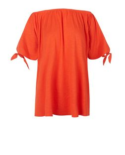 Bright Orange Bardot Neck Tie Cold Shoulder Top  | New Look