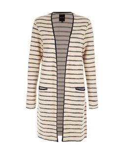 Blue Stripe Textured Longline Cardigan | New Look