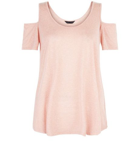 Mid Pink Cold Shoulder Swing Top | New Look
