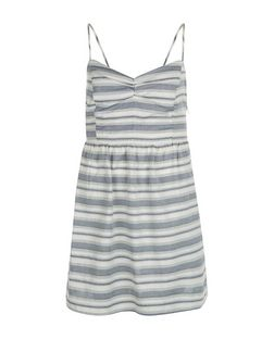 Petite Blue Stripe Strappy Dress  | New Look
