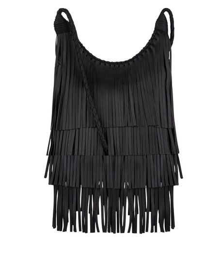 Black Fringe Trim Across Body Bag  | New Look