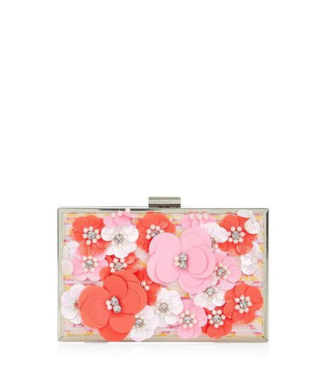 Pink Abstract Print Jacquard 3D Flower Box Clutch | New Look