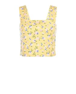 Yellow Ditsy Floral Crop Top | New Look