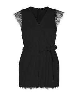 Petite Black Eyelash Lace Trim Playsuit | New Look