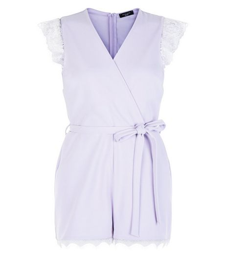 Petite Lilac Lace Trim Playsuit | New Look